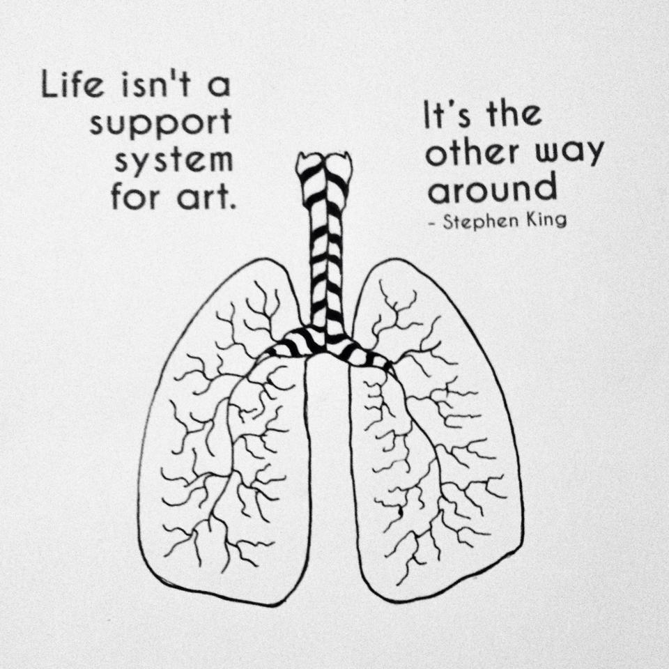 """Quote by Stephen King """"Life isn't a support system for art, it's the other way around."""""""