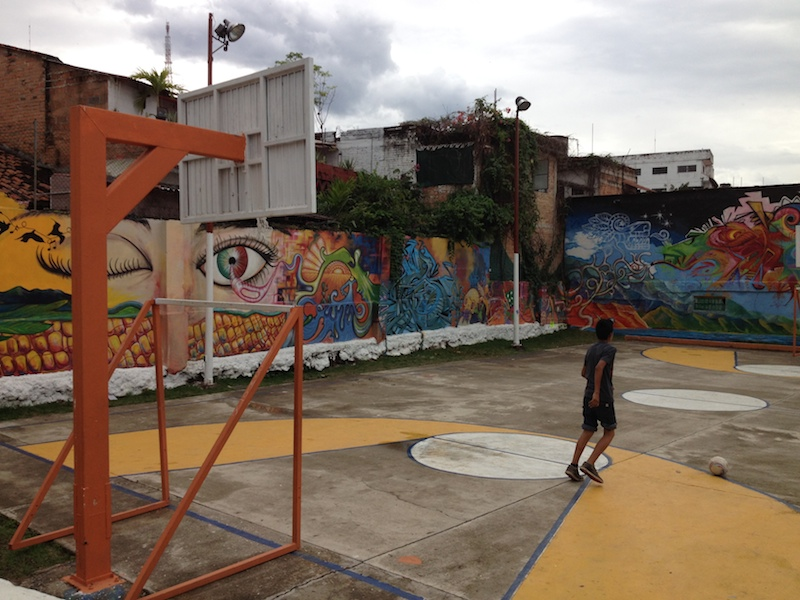 Street art at a public basketball court in Mexico