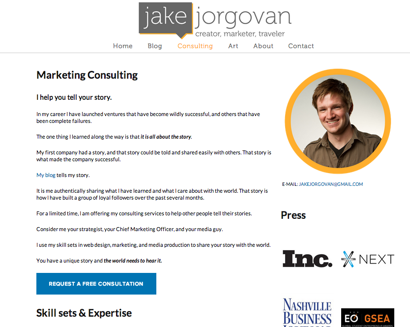 The small change of adding a consulting tab to my website made a huge difference