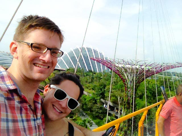 Standing atop one of the many supertrees in singapore