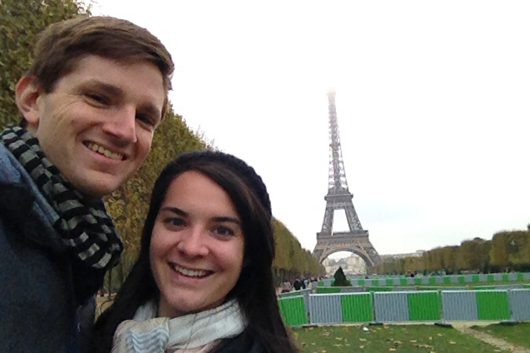 Elisabeth and I at the Eiffel Tower in Paris