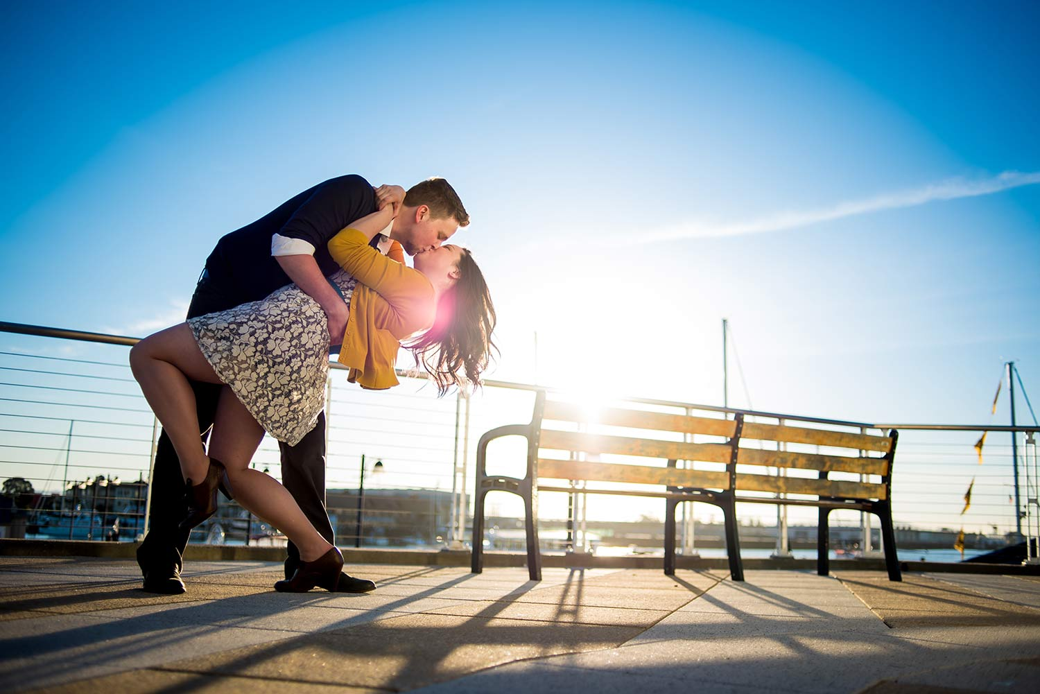 Liz and Greg's engagement in Jack London Square, Oakland, CA