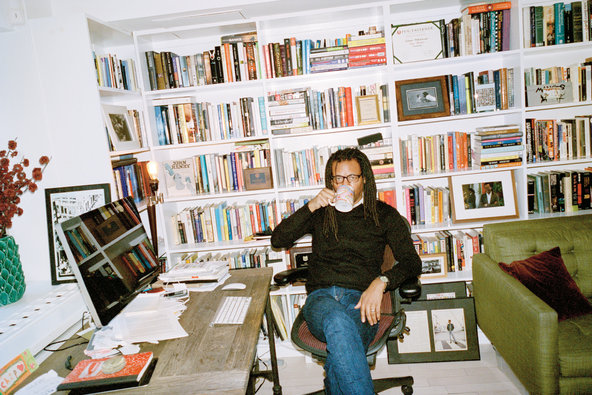 Colson Whitehead in his West Village duplex apartment. Photo by Magnus Unnar.