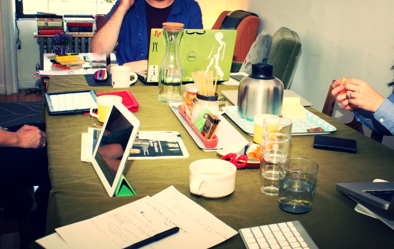 Hard at work in our conference room.