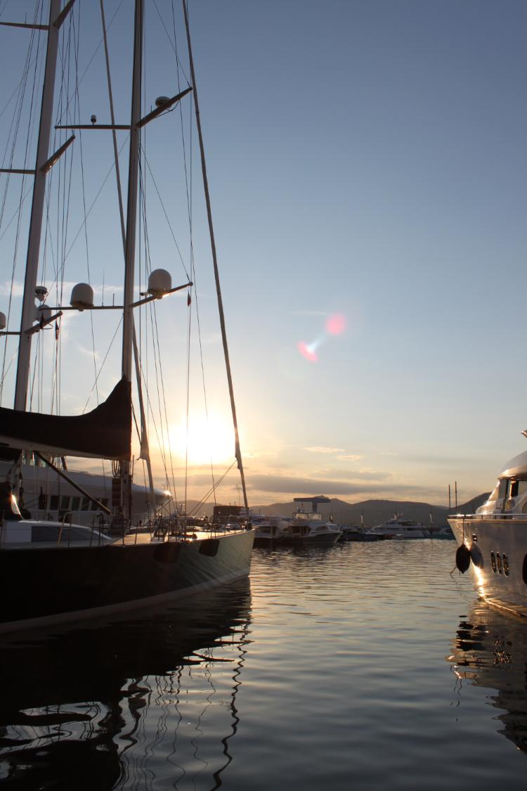 Sunset on harbor saint trop