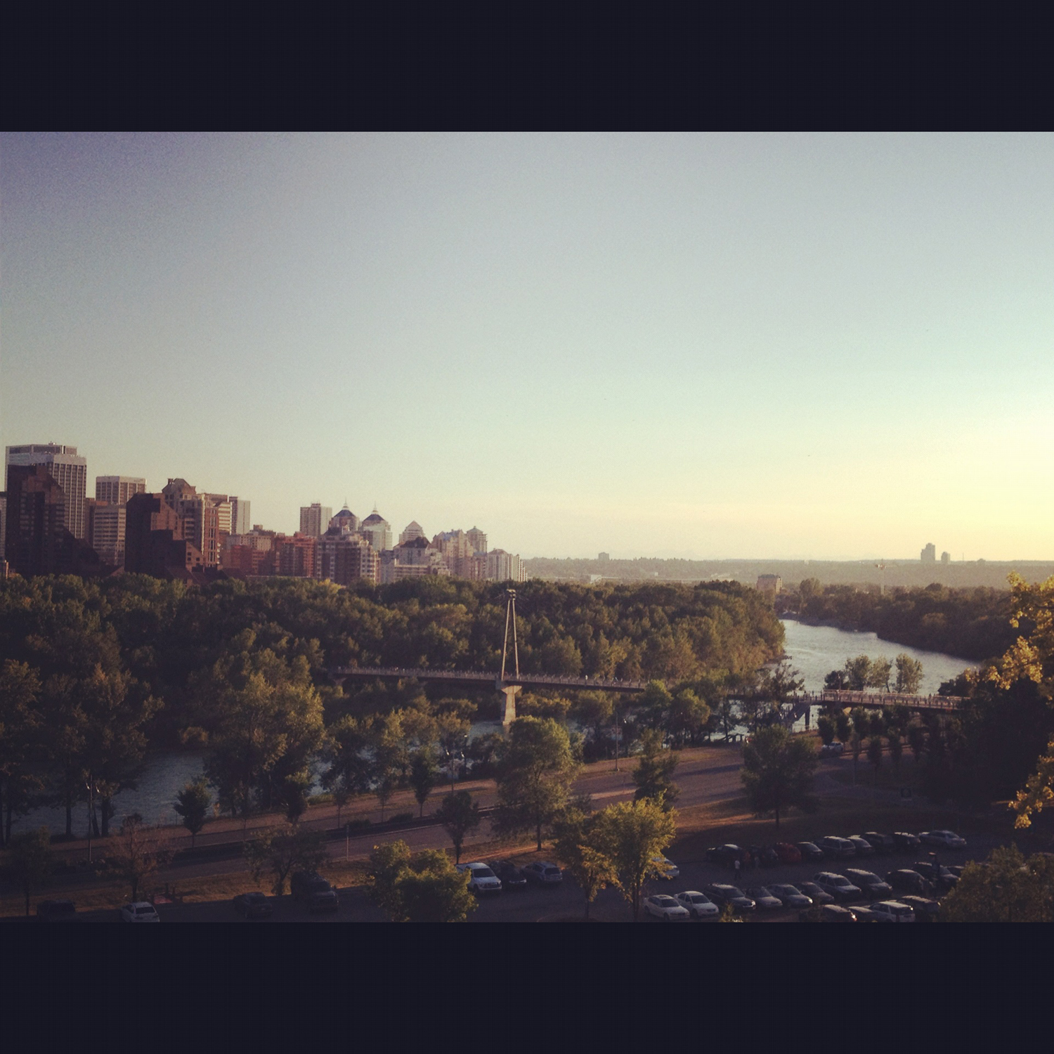 A view of Prince's Island Park and the Bow River from McHugh Bluff Park.