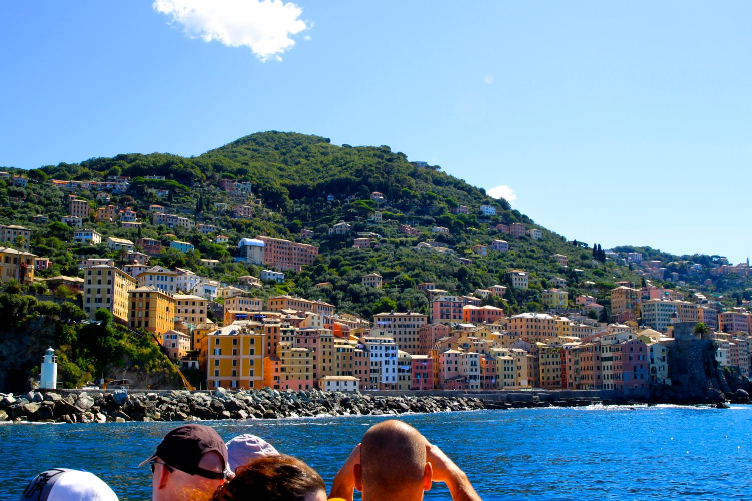 Camogli harbour view from ferry.