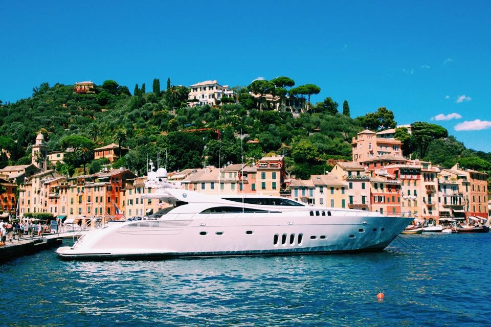 My yacht again, Portofino, and view of Hotel Splendido in the hills.