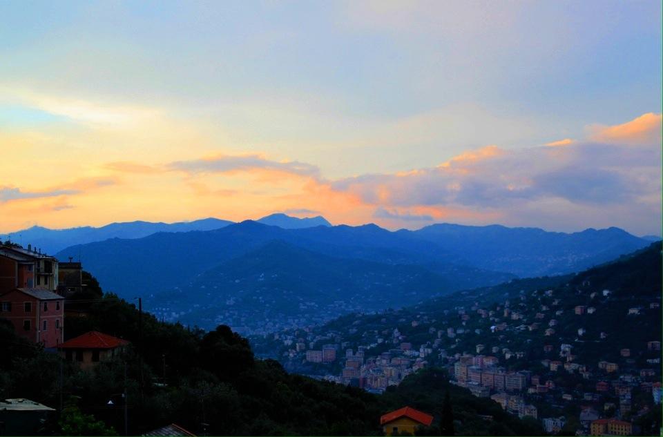 """Pastel skies at dusk. View from restaurant """"La Cucina di Nonna Nina""""."""