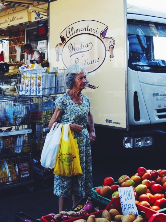 Lady at local market, Montepulciano.
