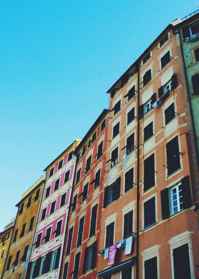 Multi coloured facades of Camogli.