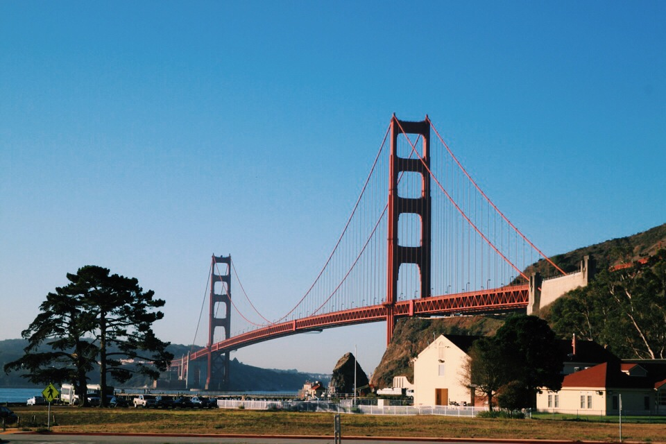 View of the Golden Gate from Fort Baker and the lodge at Cavallo Point.