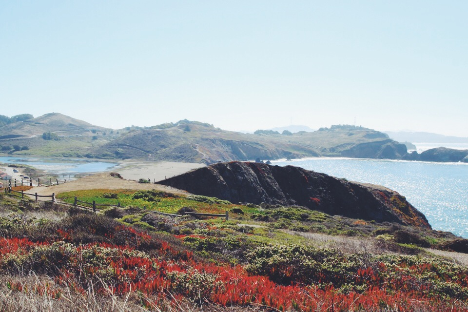 Hiking in the Headlands. Fort Barry, Marin County.