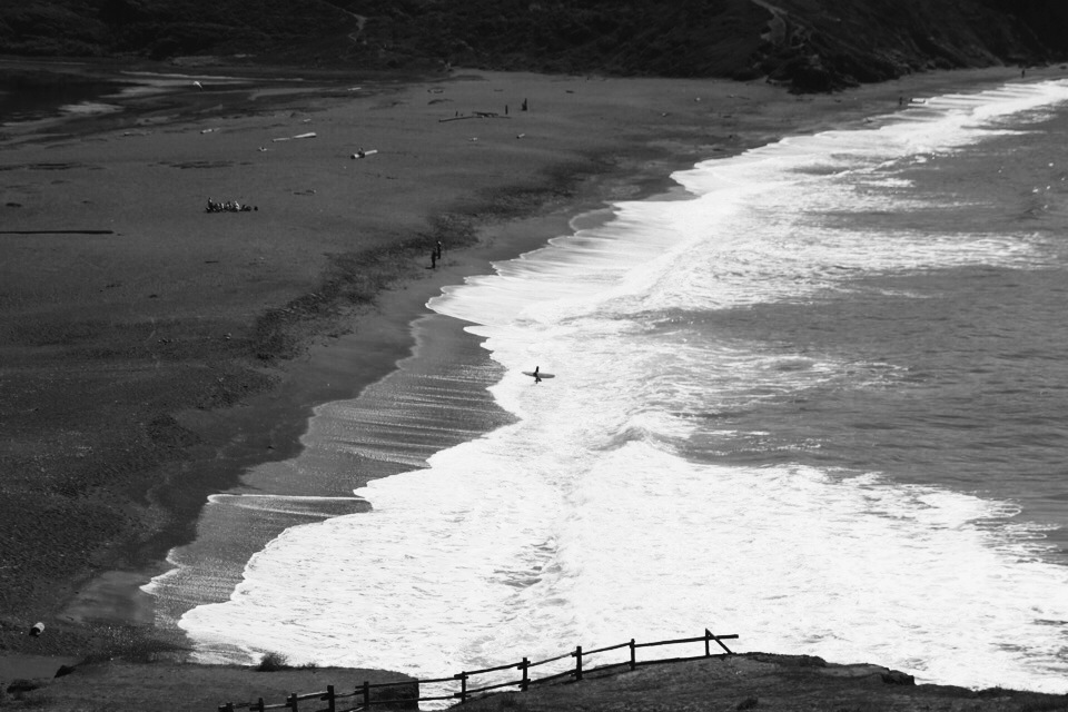 Surf's up:  Hiking in the Headlands. Fort Barry, Marin County.