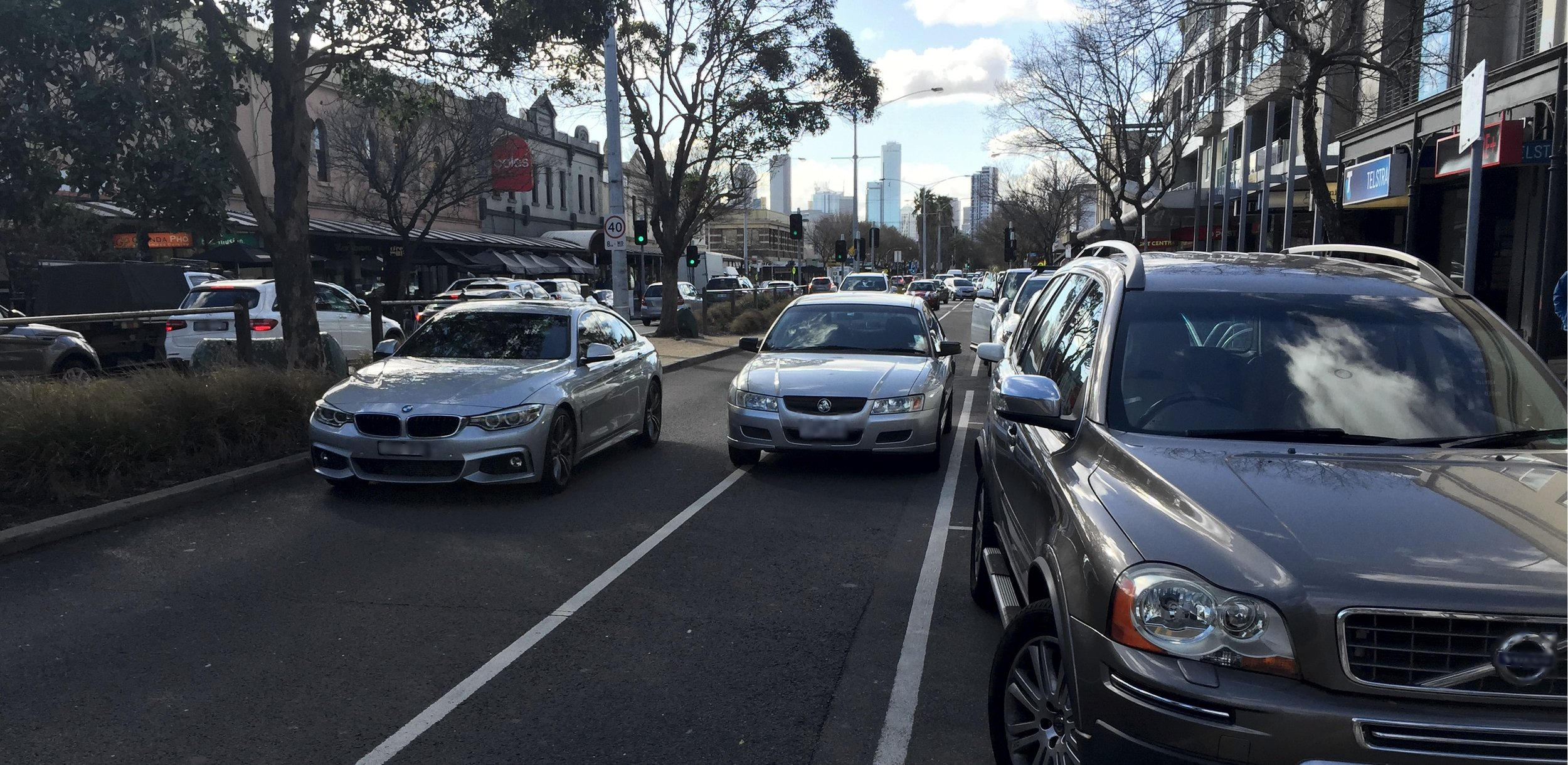 Here's a modern phenomenon. despite plenty of parking, just pull up wherever you like whilst you wait for your able-bodied teenager to run into the shop. Stuff the road rules or the traffic chaos, anything I'm doing is more important than what anyone else is doing. (PS. A daily event on Bay Street, Port Melbourne)
