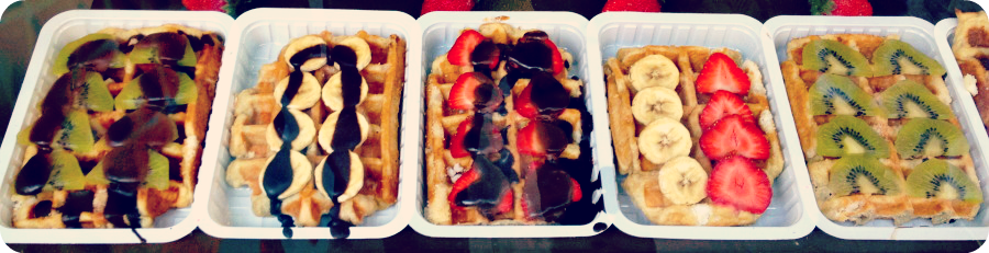 Mouthwatering toppings on Belgium's national treasure - waffles.  © Eileen Hsieh
