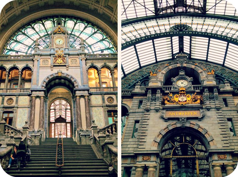 Sumptuous decor inside Antwerp Central Station. © Eileen Hsieh
