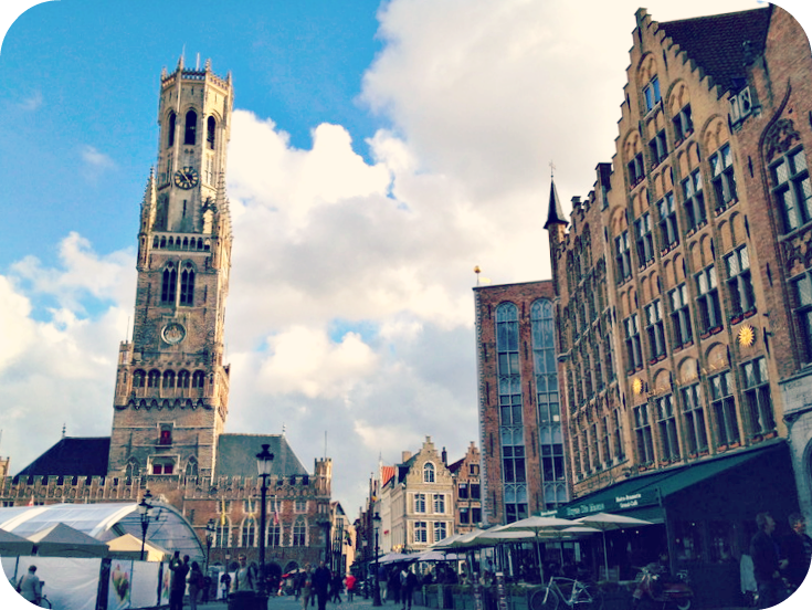 The Belfry overlooking Bruges' main square.  © Eileen Hsieh