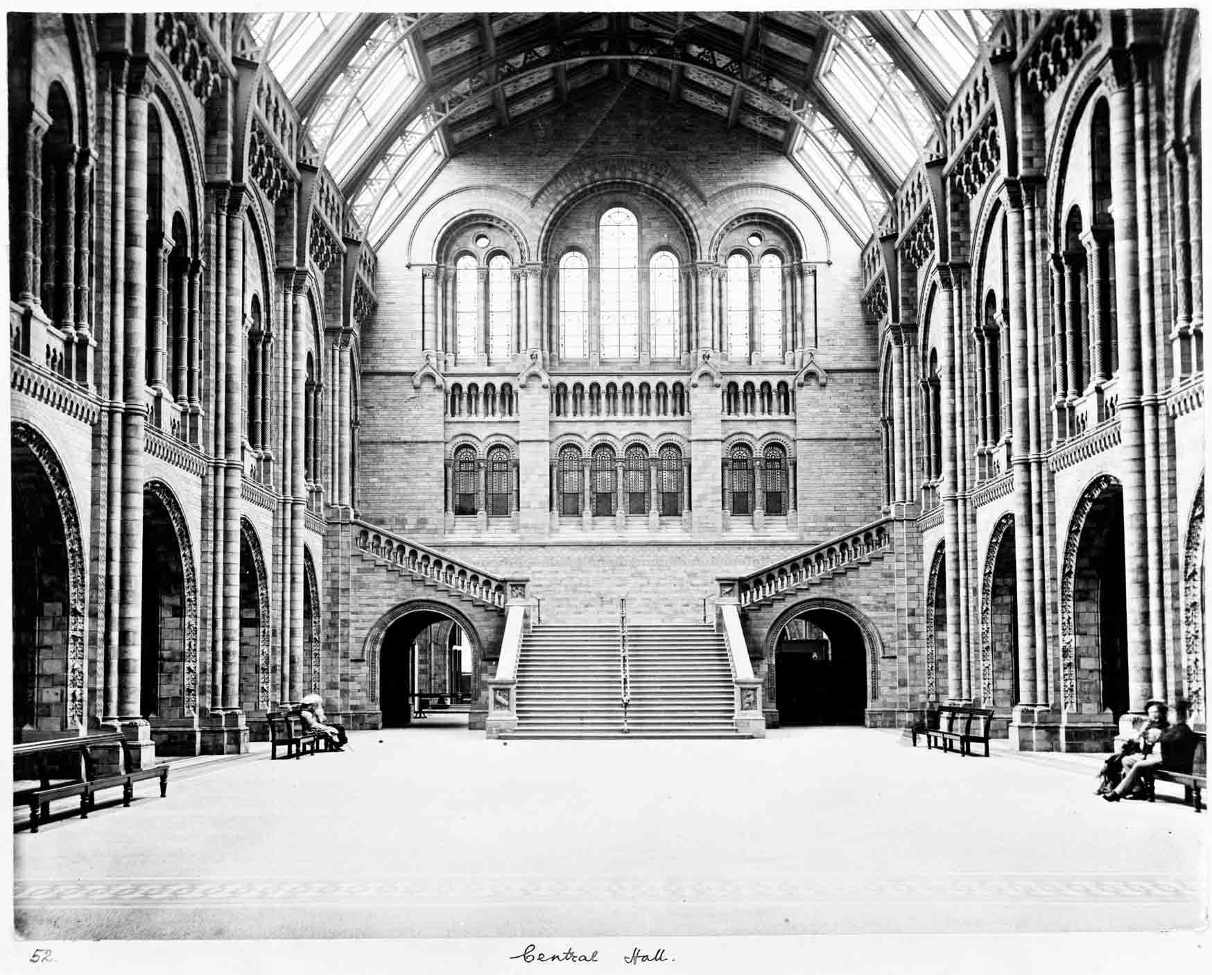 The splendid cathedral-like Central Hall of Natural History Museum as seen in 1882. © The Trustees of the Natural History Museum, London