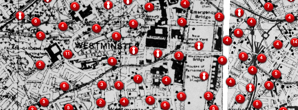 An old map showing bombing sites in Westminster near Big Ben.(Source: bombsight.org)