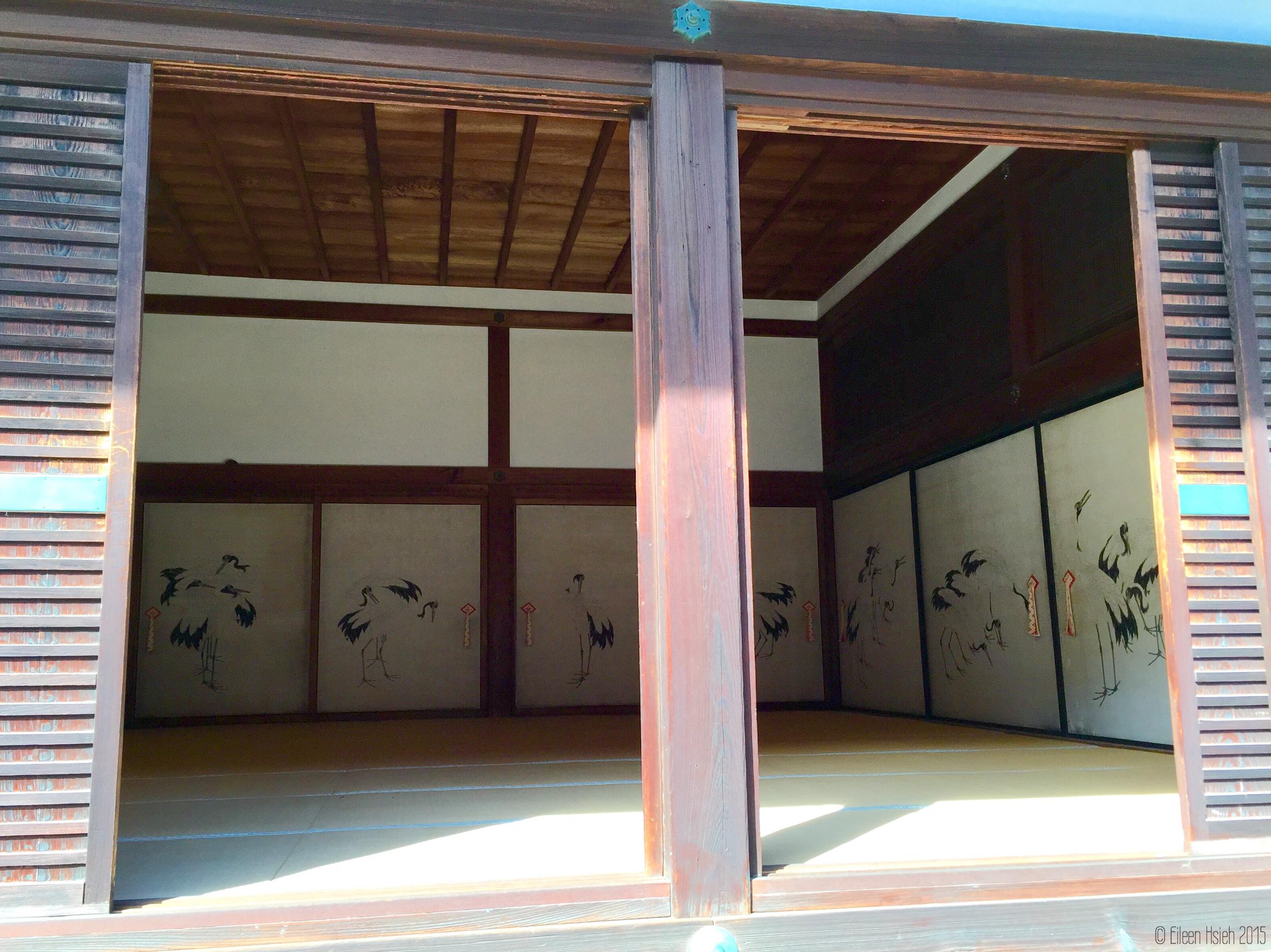 諸大夫之間「鶴之間」和室裡的壁畫。© Eileen Hsieh