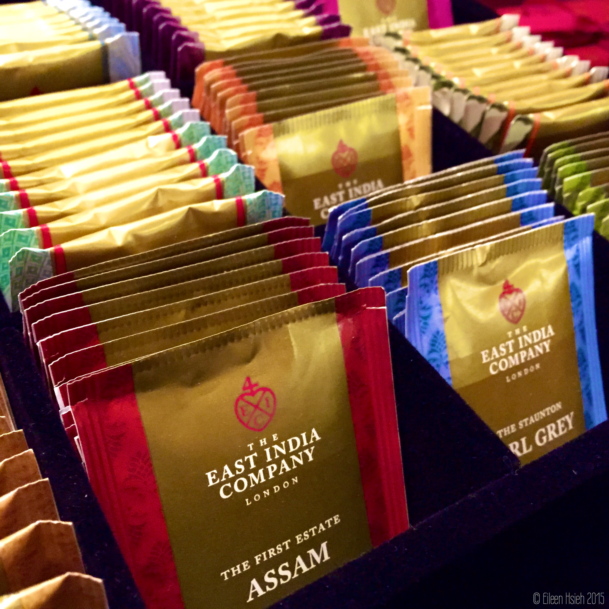 Individual tea bags.倫敦東印度公司多樣的茶包。© Eileen Hsieh