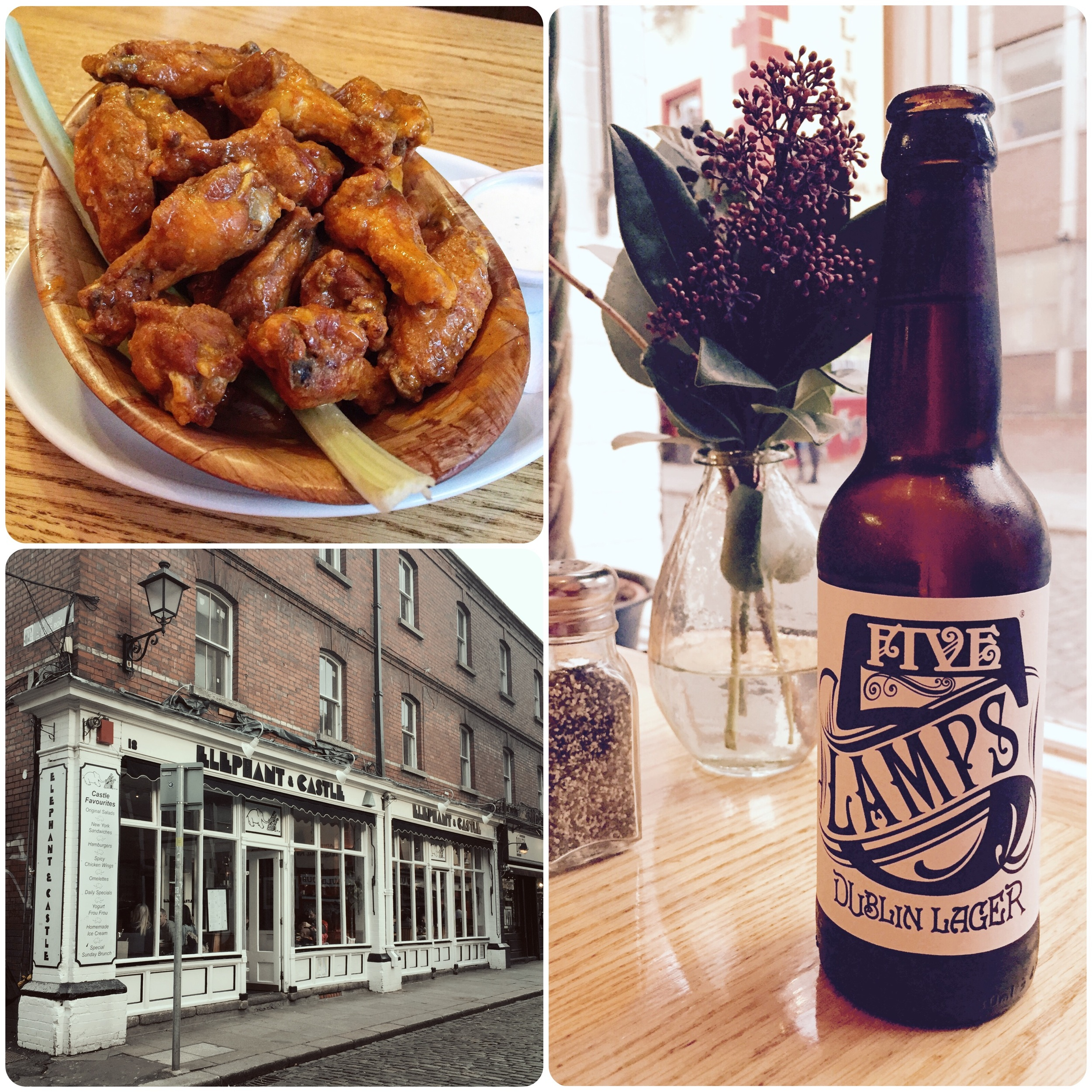 Don't go home without trying Elephant & Castle's spicy chicken wings. They are famous the world over.