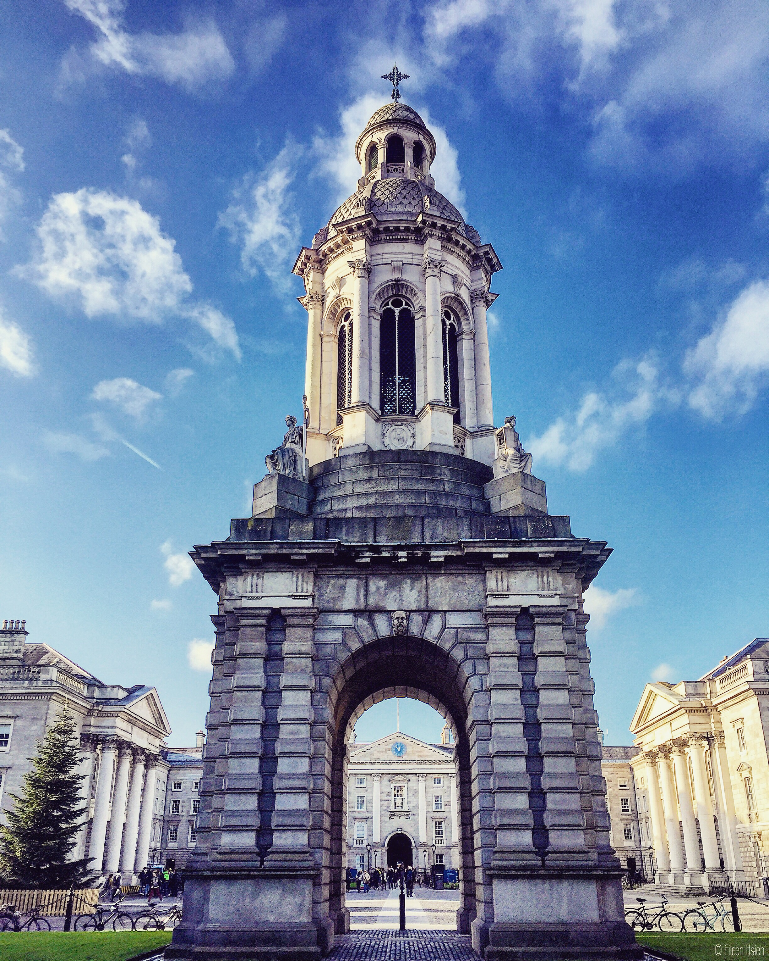 A popular legend at the Trinity College goes like this: If you walk under the bell tower and the bell tolls while you're under it, you will fail your exams. You have been warned.