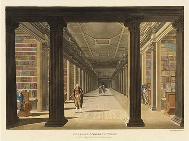 A painting of the Long Room chamber before the roof was raised in 1860. (Image: Wikipedia)