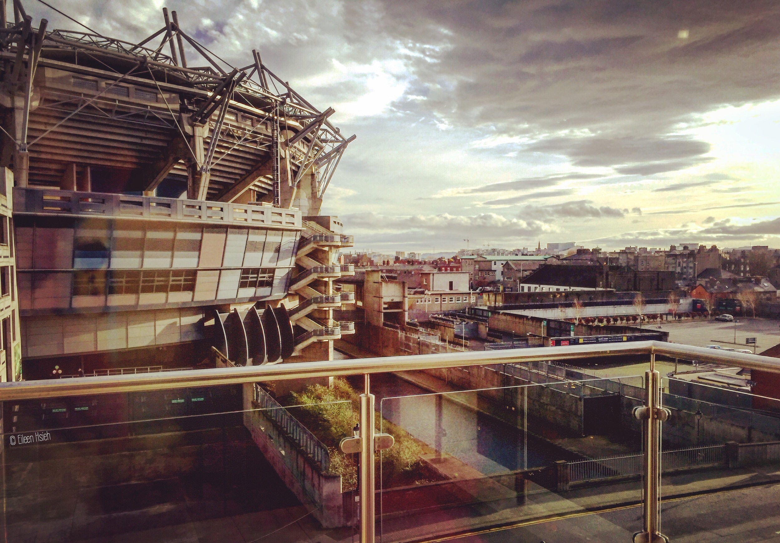 View of the stadium and canal from the Croke Park Hotel across the street.