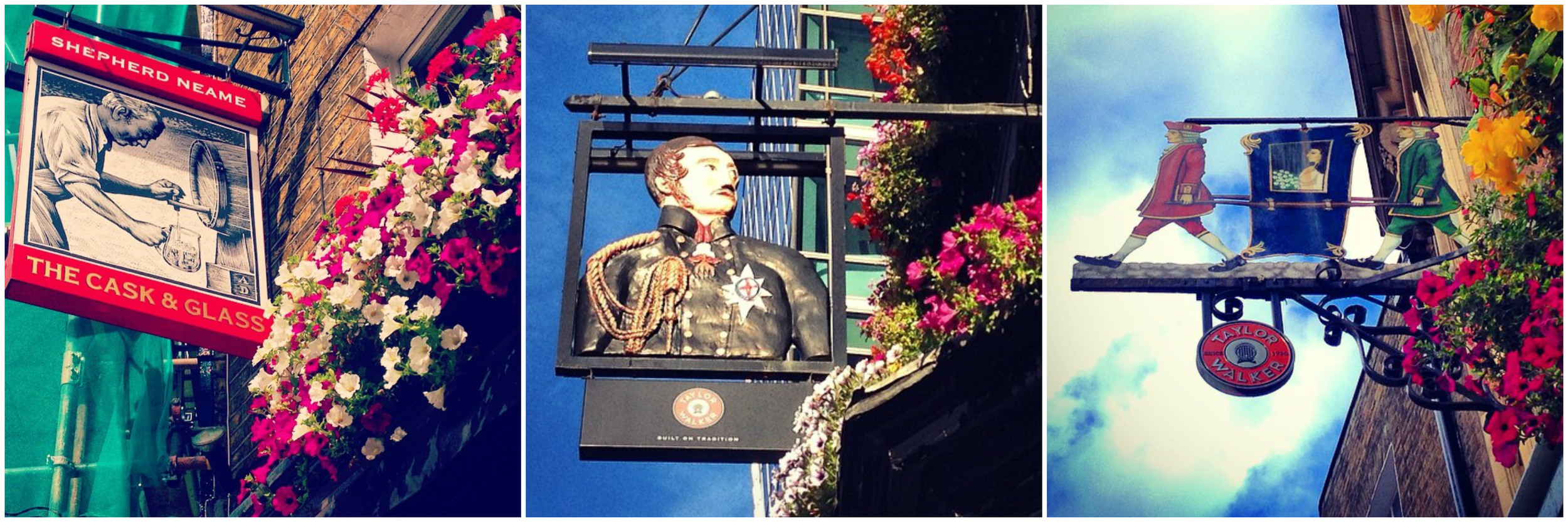 Some of the cute pub signs in Westminster, St James's Park and Victoria. (Images: Eileen Hsieh)