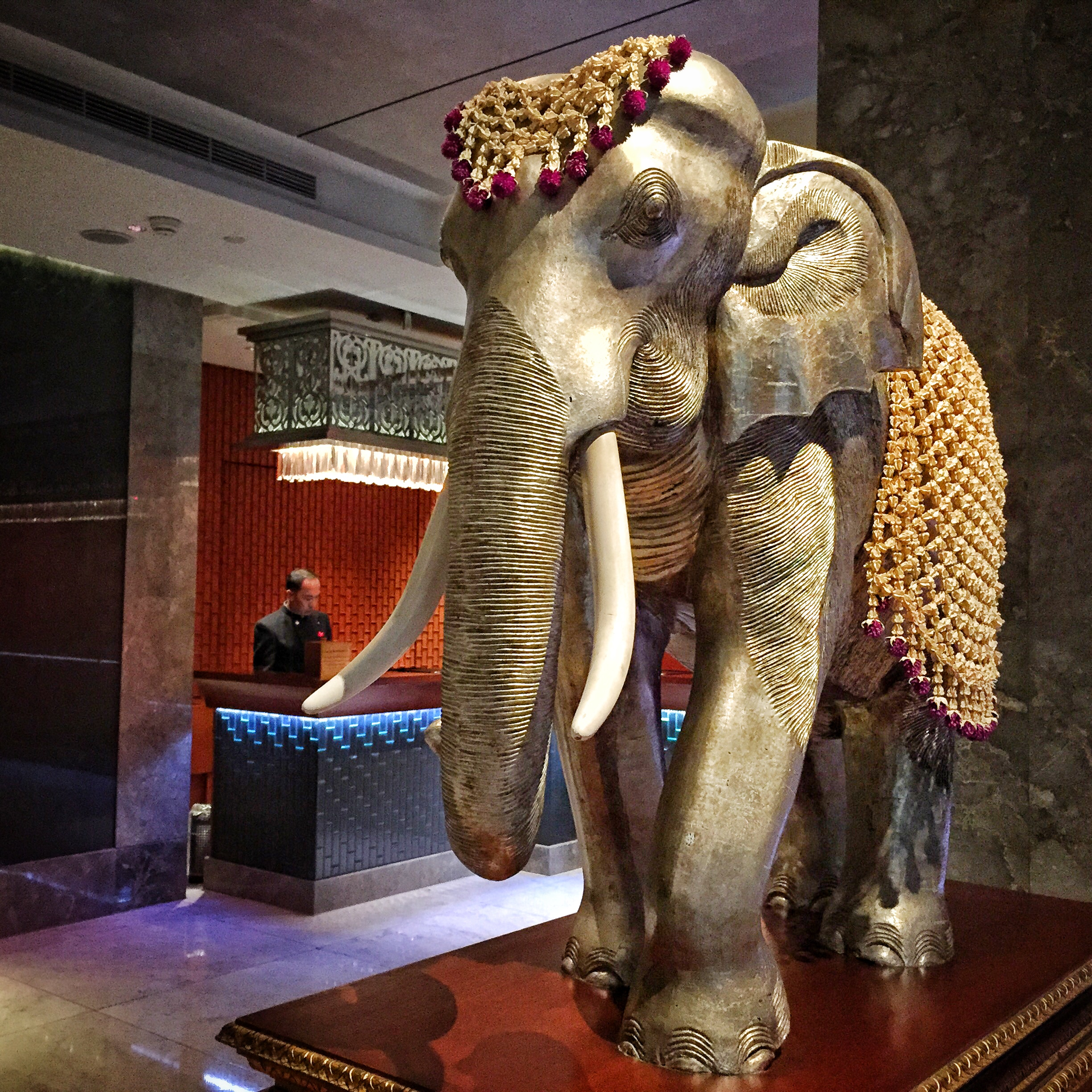 A gilded elephant next to the reception desk.  ©   Eileen Hsieh