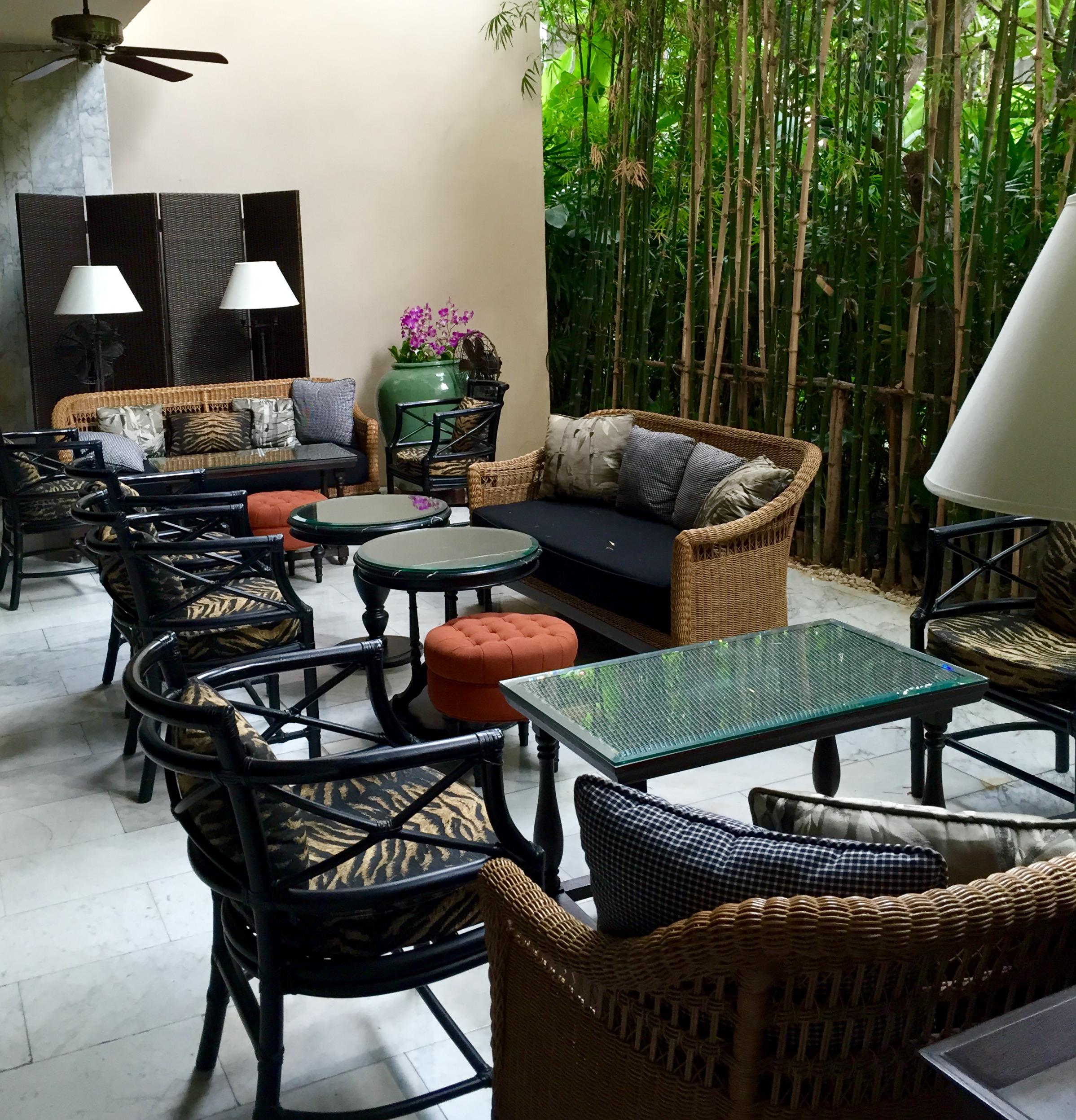 A quiet corner with understated rattan furniture. © Eileen Hsieh