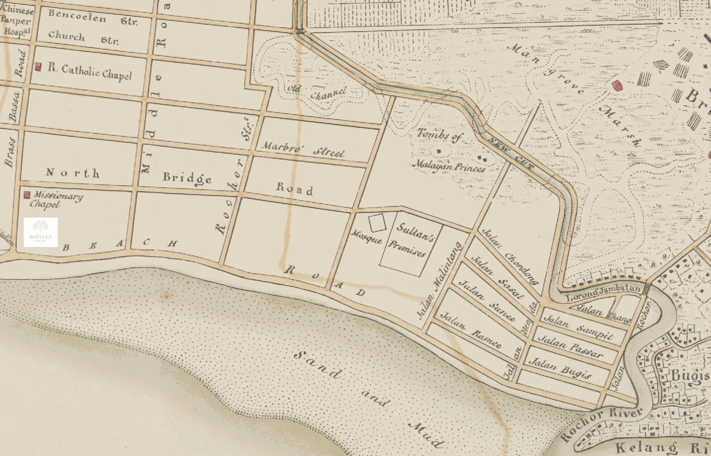 Old map of Singapore showing Beach Road before land reclamation, with Raffles Hotel on the far left. © Wikipedia