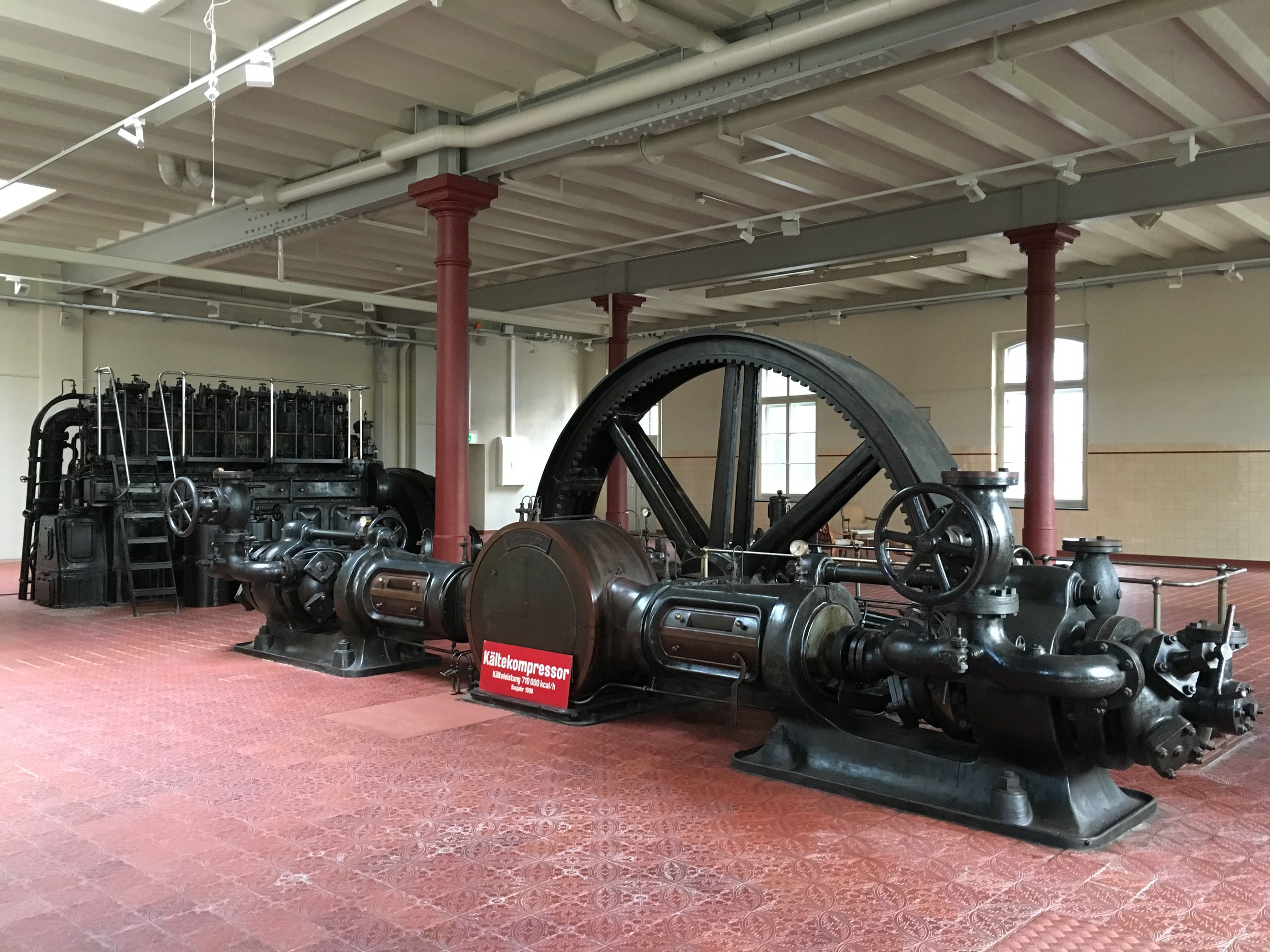 Machine hall showcasing the cooling compressing used in the old brewery. / © Eileen Hsieh