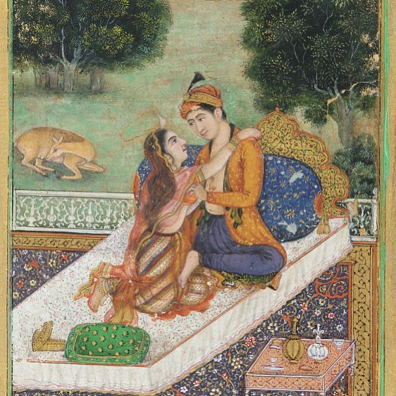 """Lovers on a terrace,"" created by an artist during the Mughal dynasty (late eighteenth century). / Image: The Freer