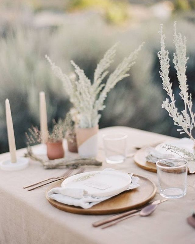 Headed to @undercanvasofficial Moab today with @kayleigh.rust.photo for a spring elopement and loving this inspiration by @saramweir and @ambedofloral with linens from @latavolalinen 🌾 #desertstyle #designinspiration #desertelopement #tablescape #organic #organicstyle #sage #earthy #bohemian