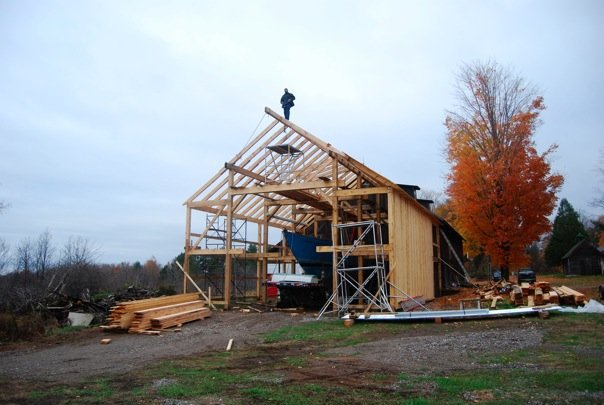 Many, many hands on this one. Barn North of the Adirondacks to house a 50-foot sailboat. All lumber locally harvested. I contributed a few weeks to get the primary structure in place. Built adjacent to the  Everett Boat Works  -- designers and craftsmen who build and restore wooden boats from across the 1000-island region of the St Lawrence river.