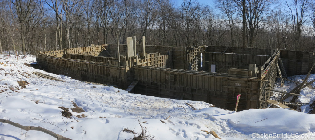 The walls here are formed, ready to pour concrete