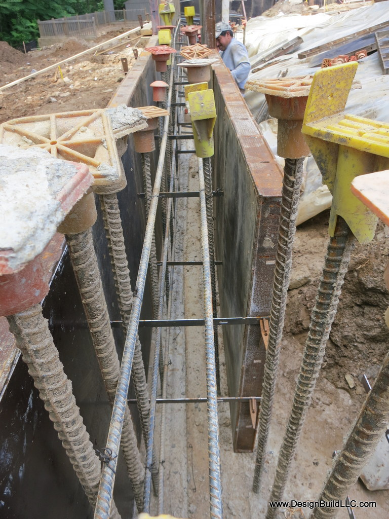Wall forms and rebar.