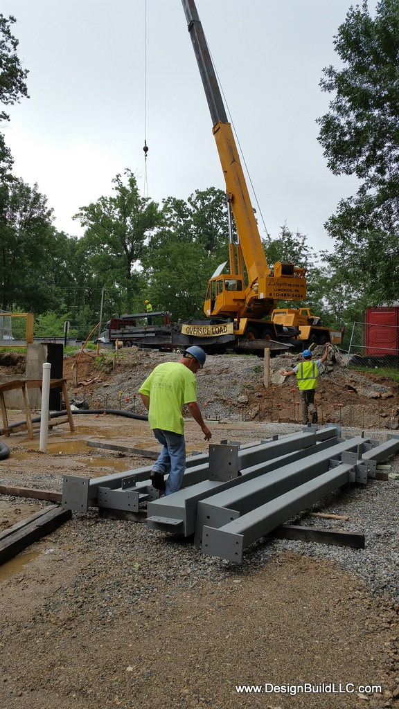 Columns stacked and ready to erect.
