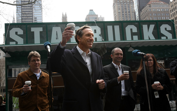 "Howard Schultz, CEO of Starbucks, is known for being a compelling presenter. Just like an athlete, he's energized and his full body is ""in the game."""