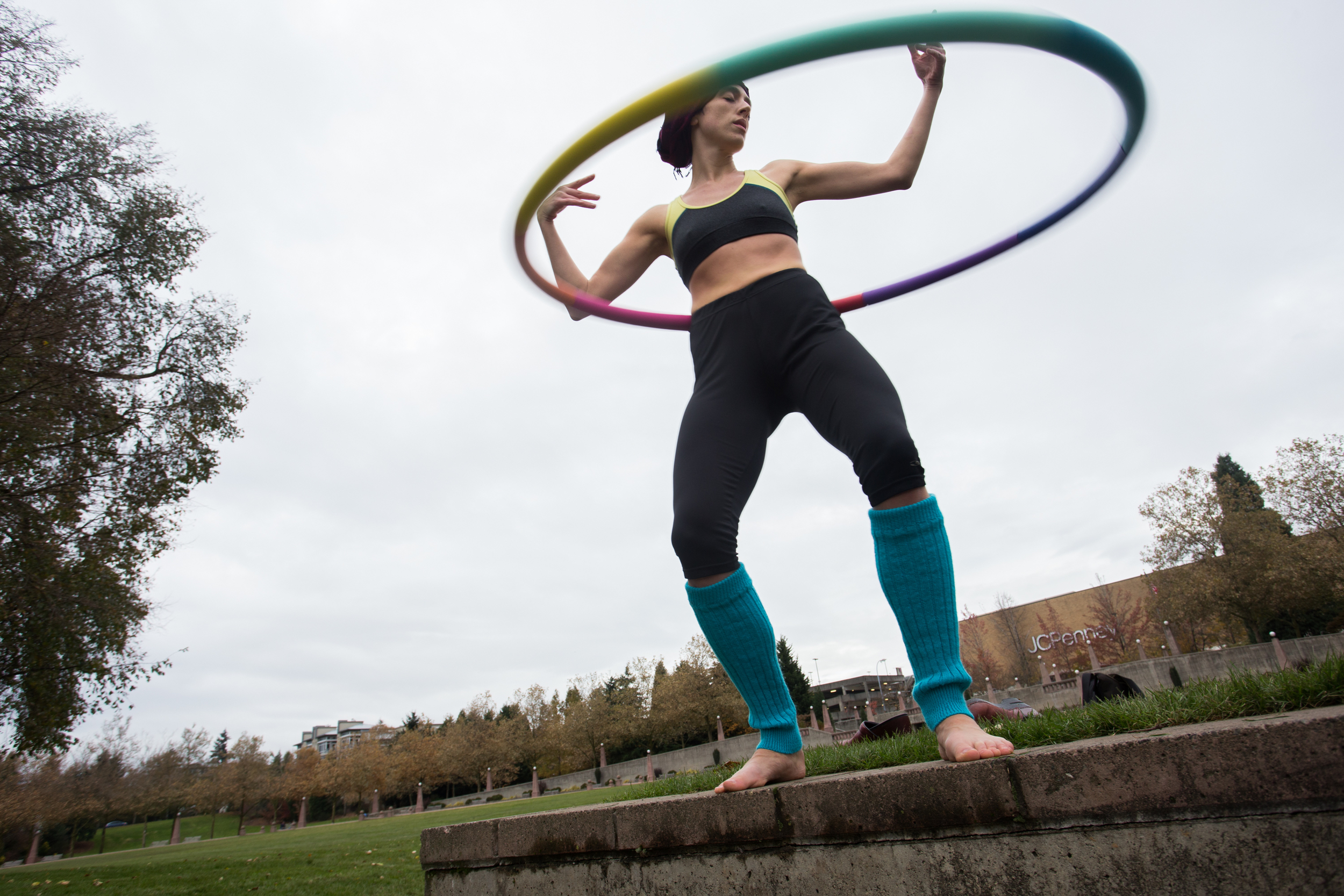 Molly! Masich hula hoops in Bellevue's Downtown Park.