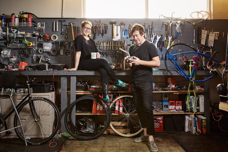 Sarah and Aaron Goeth, in their workshop