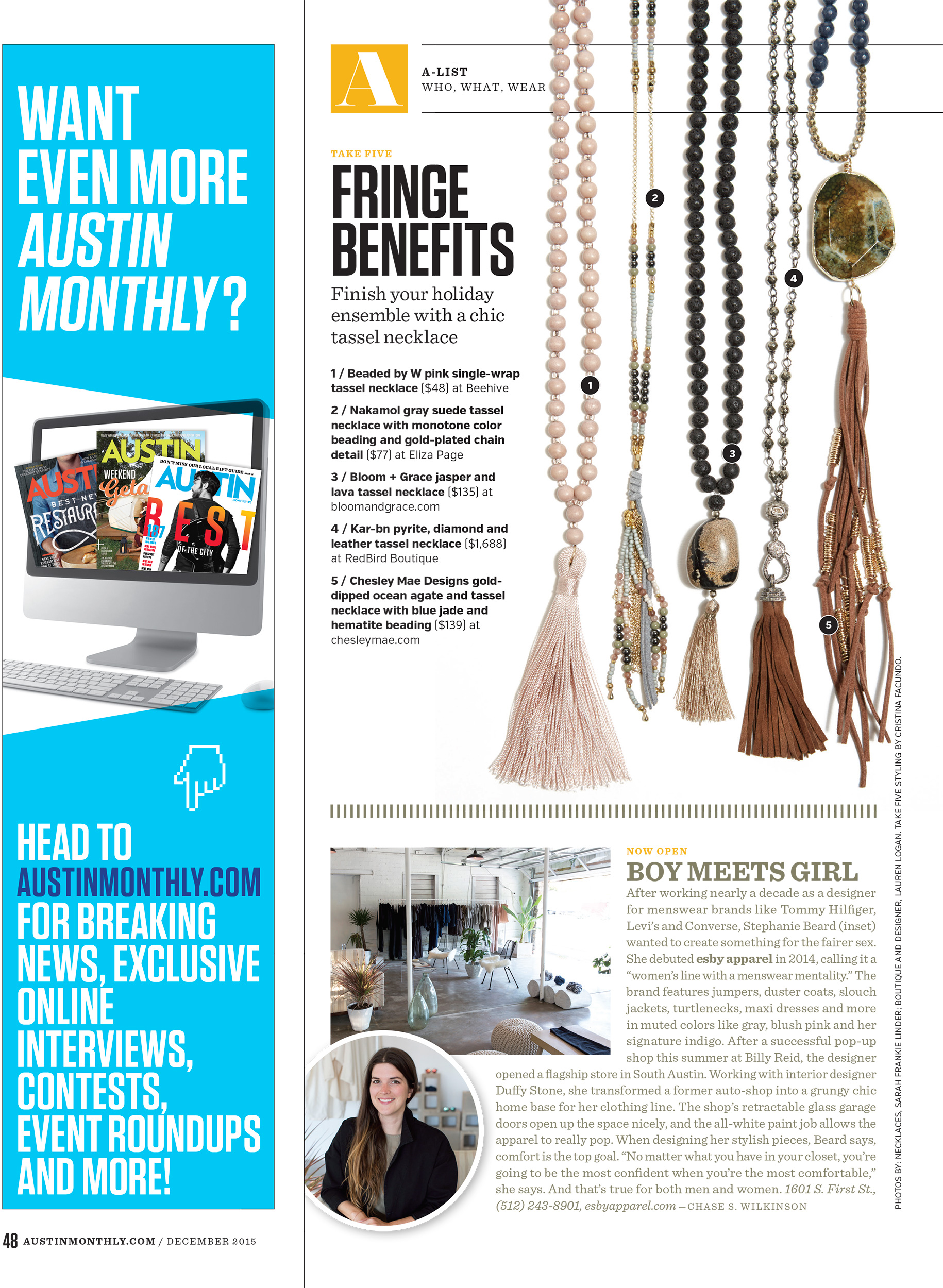 "AUSTIN MONTHLY // ""TAKE FIVE"" // DECEMBER 2015"
