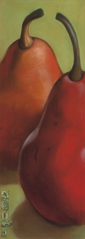 Red Pears on Green
