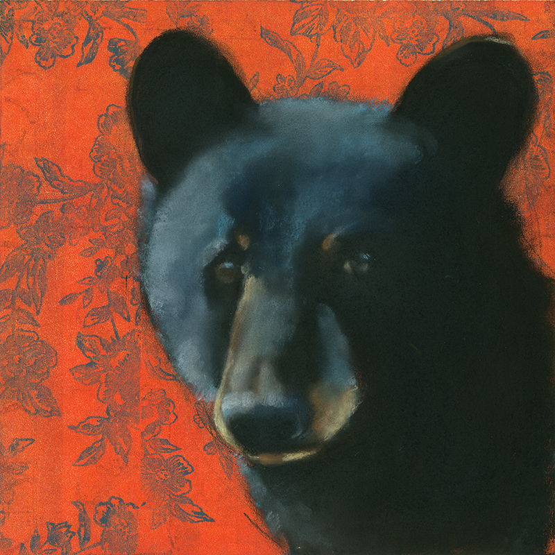 Bear on Red Flowers