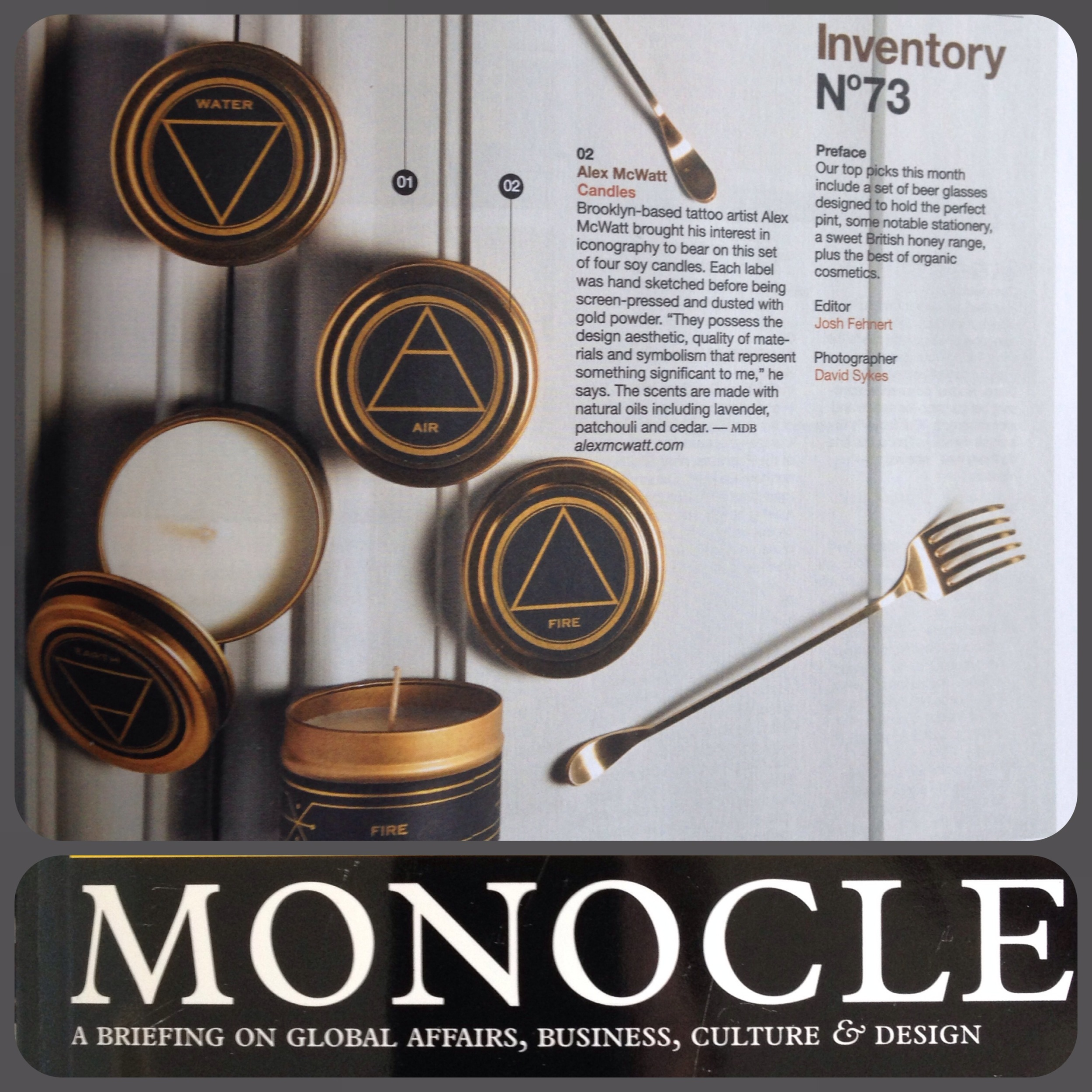 May 2014 - Three Kings Home Alchemy Candles featured in Monocle Magazine.