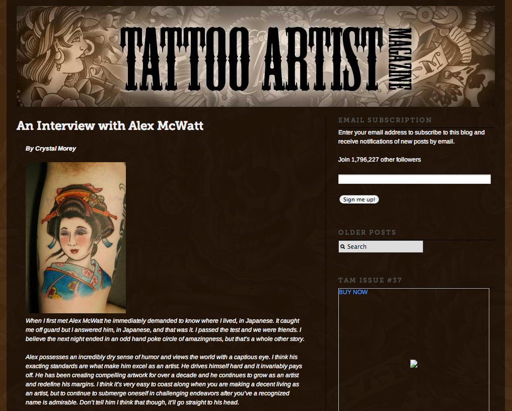 2013 - Tattoo Artist Magazine Blog Interview