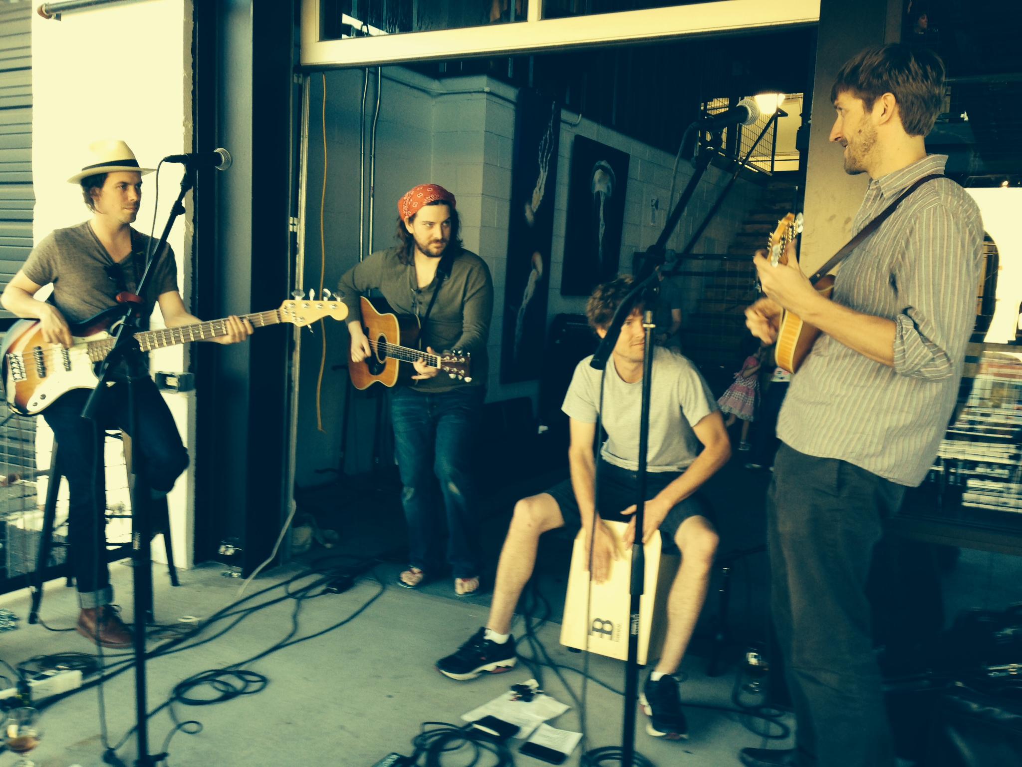 Steo Britton (Bass), Adam Dalton (Guitar), Brian Dowd (Cajon) & John Beck (Mandolin) at the Tennessee Brew Works on 4/19/14.